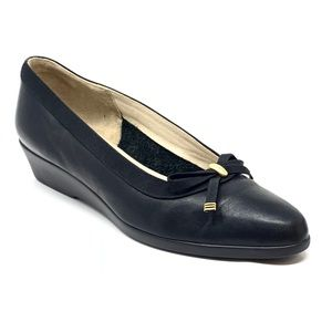 Bally Belle Black Italian Leather Bow Low Wedges